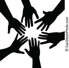 Hände zusammen, Vektor