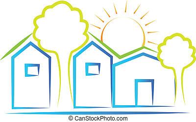 Häuser, Baum und Sonnen-Logo