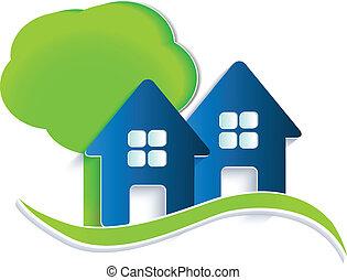 Häuser Baum und Wellenlogo.