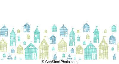 Häuser blaugrüne Textil Textur horizontaler, nahtloser Hintergrund.