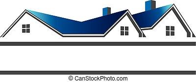 Häuser Dächer für Immobilienlogo.
