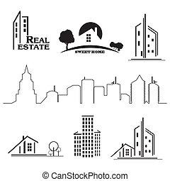 Häuser Icons für Immobiliengeschäfte auf weißem Hintergrund.