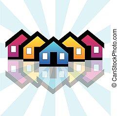 Häuser Immobilien-Karte Logo
