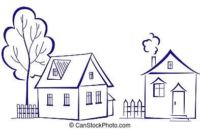 Häuser mit einem Baum, Pictogramm