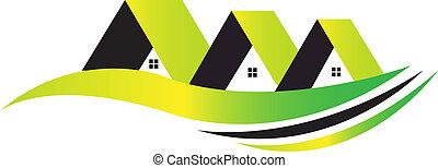 Häuser mit grünem Leben