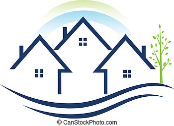 Häuser Wohnungen mit Baumlogo.