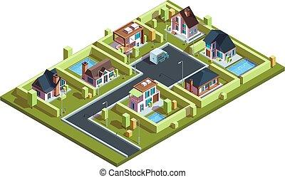 häusser, stadt, infrastruktur, landkarte, reihenhäuser, dorf, vorstädtisch, hütte, isometrisch, vektor, wohnhaeuser, modern, isometric., klein