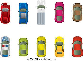 Höchste Aussicht auf verschiedene Autos