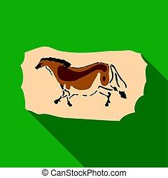 Höhlenmalerei Icon im flachen Stil isoliert auf weißem Hintergrund. Steinzeit-Symbol-Aktivierung.
