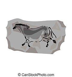 Höhlenmalerei Icon im monochromen Stil isoliert auf weißem Hintergrund. Steinzeit-Symbol-Aktivierung.