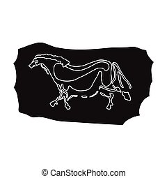 Höhlenmalerei Icon im schwarzen Stil isoliert auf weißem Hintergrund. Steinzeit-Symbol-Aktivierung.
