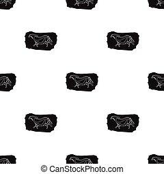 Höhlenmalerei Icon im schwarzen Stil isoliert auf weißem Hintergrund. Steinzeitmuster-Aktivierung.