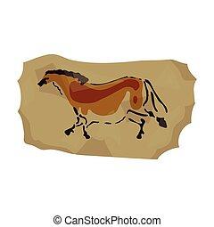 Höhlenmalerei Icon im Zeichentrickstil isoliert auf weißem Hintergrund. Steinzeit-Symbol-Aktivierung.