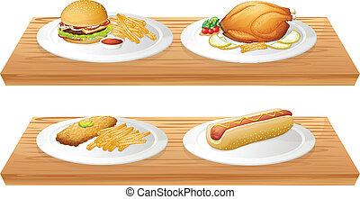 hölzern, platten, essen, servierbretter