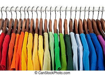 hölzern, regenbogen, kleiderbügel, farben