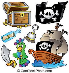 hölzern, schiff, pirat, sammlung
