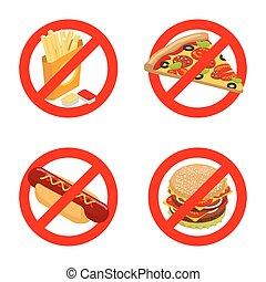 Hör auf Fast Food. Diätzeichen. Bann ungesundes Essen. Es ist verboten, Pommes zu essen. Emblem gegen Pizza. Anti-Schild von Hot Dog. Du kannst nicht saftigen Hamburger. Rotes Zeichen