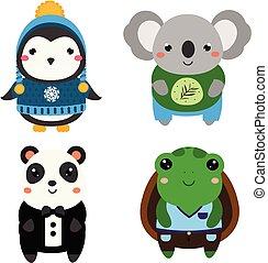 Hübsche exotische Tiere. Kartoon kawaii Tiere gesetzt
