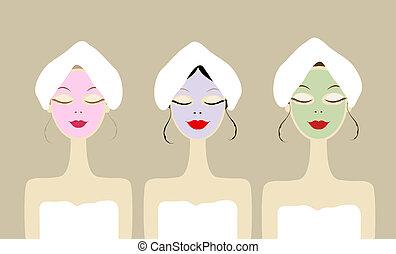 Hübsche Frauen mit Kosmetik-Maske auf Gesichtern