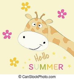 Hübsche Giraffe auf gelbem Hintergrund