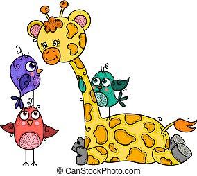 Hübsche Giraffe mit drei Vögeln.