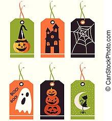 Hübsche Halloween-Tags. Vector-Hand gezeichnete Illustration.