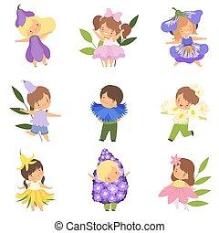 Hübsche kleine Kinder, die Blumenkostüme tragen, süße Jungs und Mädchen in Karnevalskleidung Vektorgrafik.