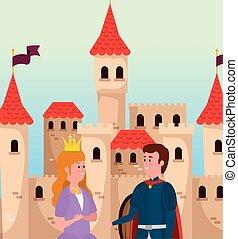 Hübsche Prinzessin mit Krone und Prinz