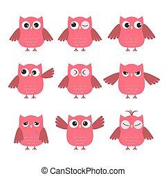 Hübsche rosa Eulen mit verschiedenen Emotionen