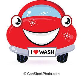 Hübsche rote Autowäsche, isoliert auf weiß