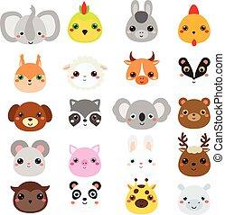 Hübsche Tiere. Große Serie von Cartoon kawaii Tier-und Tiere Ikonen