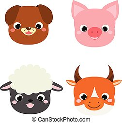 Hübsche Tiere. Kartoon kawaii Bauerntier Ikonen