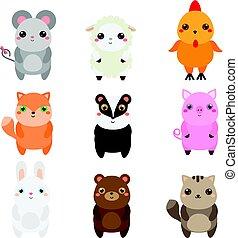 Hübsche Tiere. Kinderstil, isolierte Designelemente, Vektor. Kartoon kawaii Tier-und Bauerntiere
