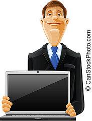 Hübscher Mann mit Laptop