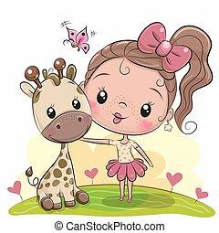 Hübsches Cartoon-Mädchen mit Giraffe.
