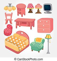 Hübsches Cartoon-Möbel-Ikonenset