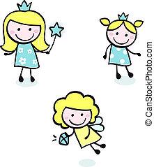 Hübsches Doodle-Prinzessinnen-Sammlung isoliert auf weiß - blau