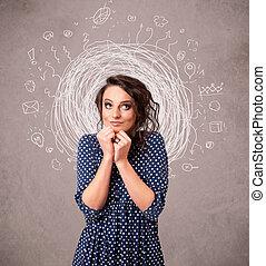 Hübsches junges Mädchen mit abstrakten Zirku-Doodle-Linien und Ikonen