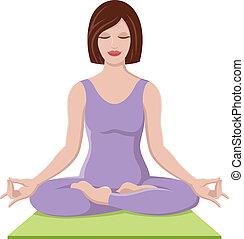 Hübsches Mädchen, das Yoga macht