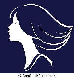 Hübsches Mädchen mit dem Gesicht der Silhouette, Vektor Illustration