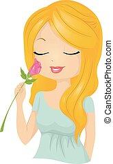 Hübsches Mädchen riecht Blumenrose.