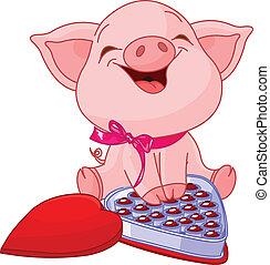 Hübsches Schwein am Valentinstag