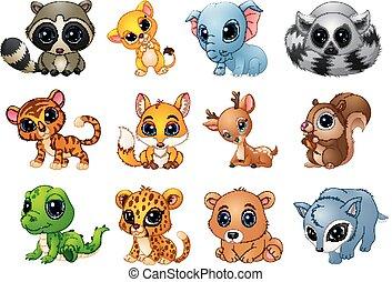 Hübsches Tier-Cartoon-Set.