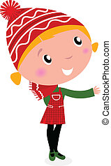 Hübsches Weihnachts-Cartoon-Girl in roten Kostümen isoliert auf weiß.