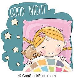 Hübsches Zeichentrick-Mädchen in einem Bett.