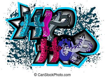 hüfte, graffiti, hopfen, zeichen