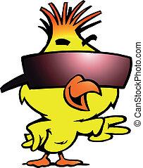 Hühnchen mit kühlem Sonnenglas