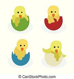Hühner in gebrochenen Ostereiern.