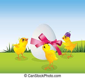 Hühner und Ei auf Wiese