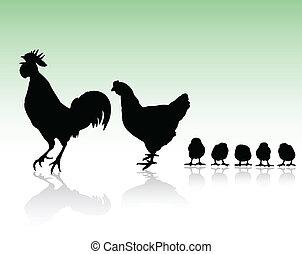 Hühnerfamilien-Silhouette